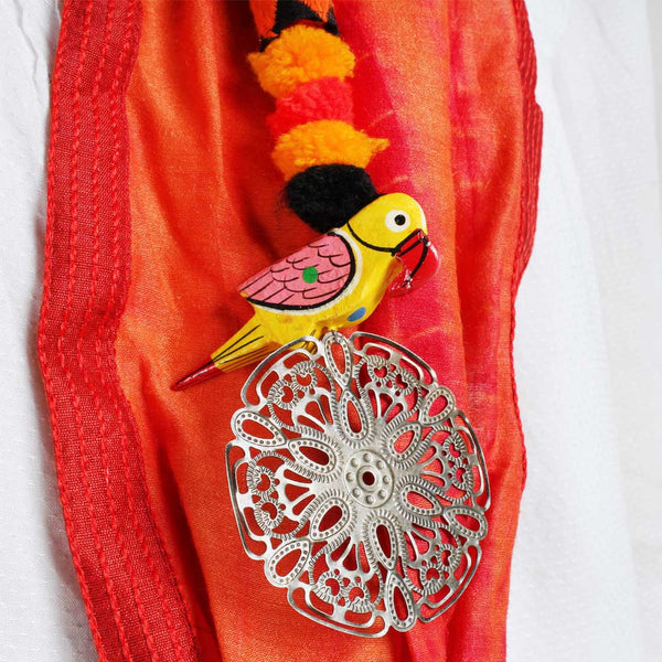 Orange Shibori Silk Stole With Parrot And Flower Tassels
