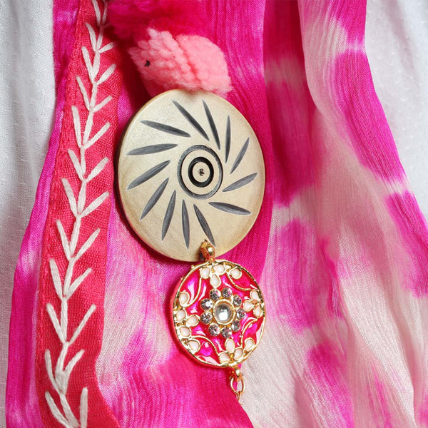 Hot Pink Shibori Silk Stole With Bead Tassels