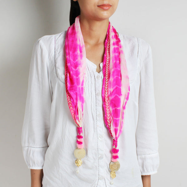 Hot Pink Shibori Silk Stole With Bead Tassels by MEENAKARI