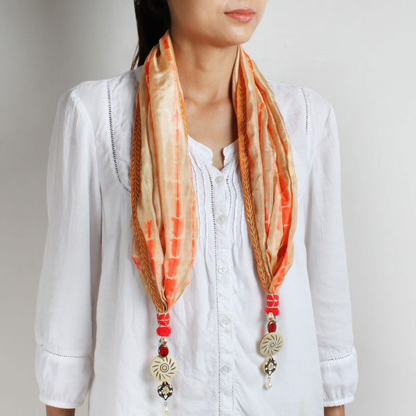 Beige Shibori Silk Stole With Bead Tassels by MEENAKARI