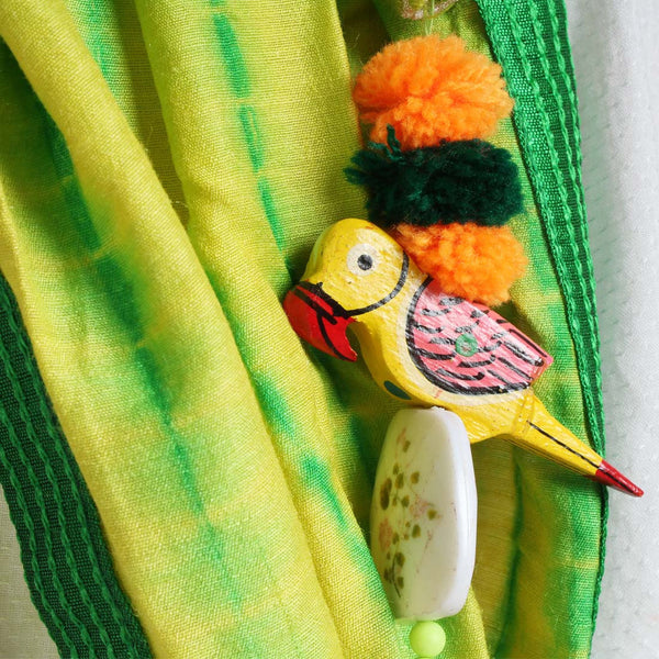 Yellow Shibori Silk Stole With Parrot Tassels