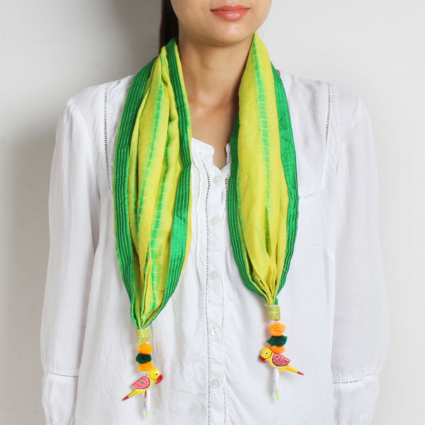 Yellow Shibori Silk Stole With Parrot Tassels by MEENAKARI