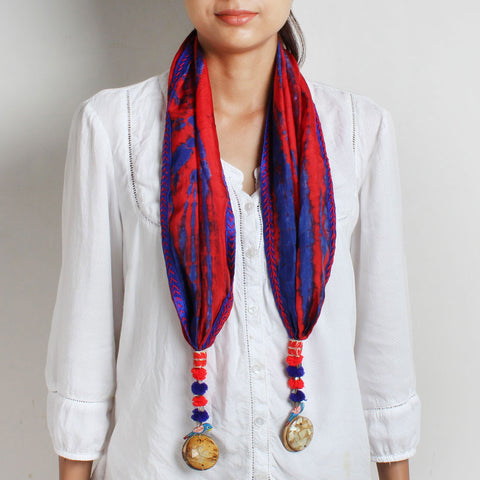 Red Shibori Stole With Parrot & Wooden Tassels by MEENAKARI