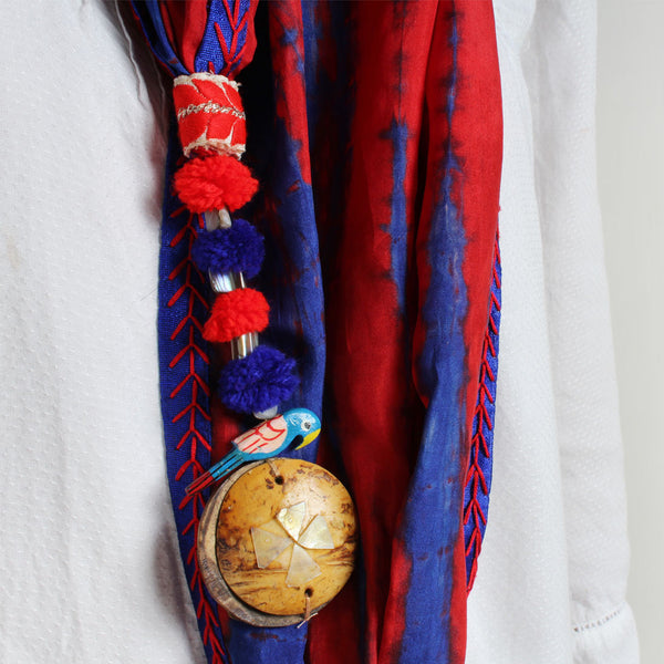 Red Shibori Stole With Parrot & Wooden Tassels