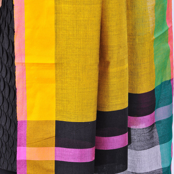 Yellow Handwoven Cotton Dupatta