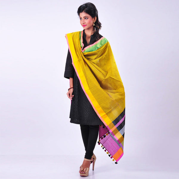 Yellow Handwoven Cotton Dupatta by MEENAKARI