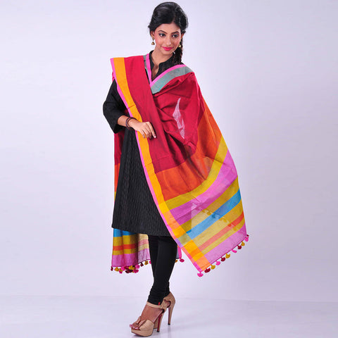 Red Handwoven Cotton Dupatta by MEENAKARI