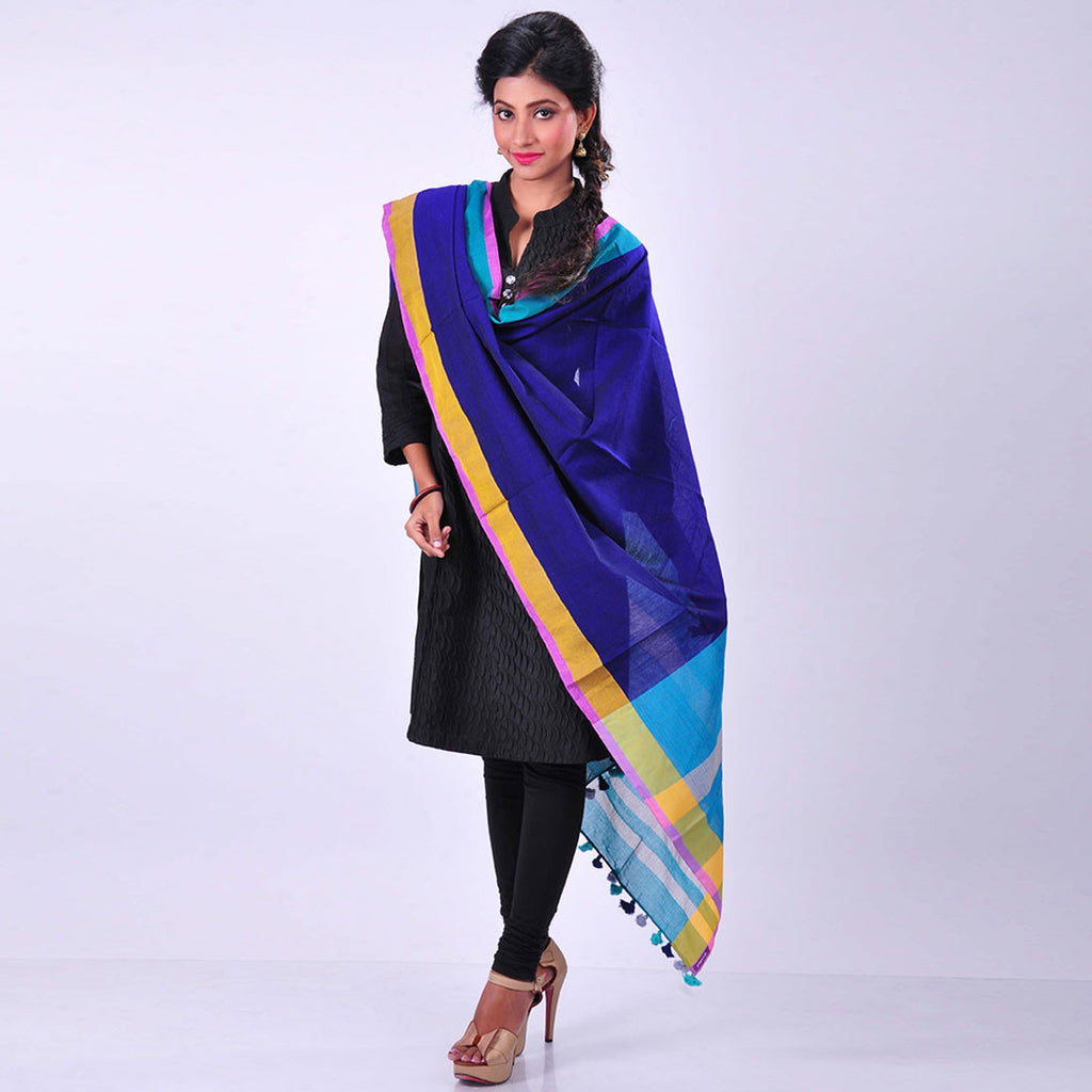 Navy Blue Handwoven Cotton Dupatta by MEENAKARI