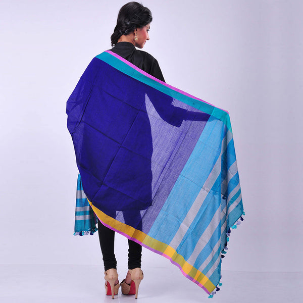 Navy Blue Handwoven Cotton Dupatta