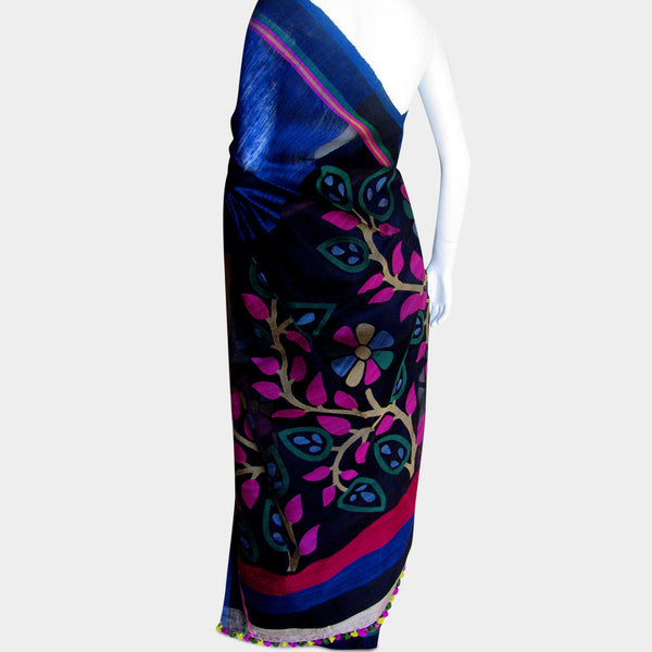Royal Blue Handwoven Silk Sari