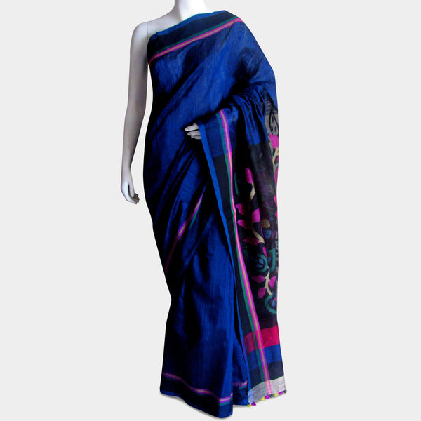 Royal Blue Handwoven Silk Sari by MEENAKARI
