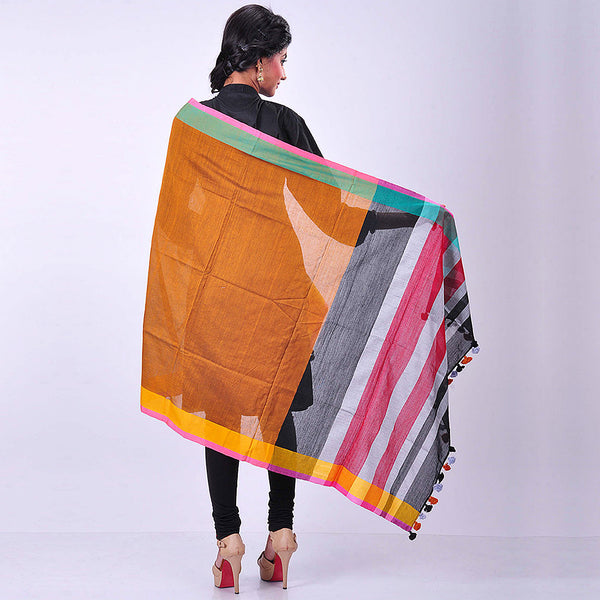 Orange Handwoven Cotton Dupatta
