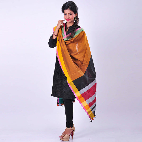 Orange Handwoven Cotton Dupatta by MEENAKARI
