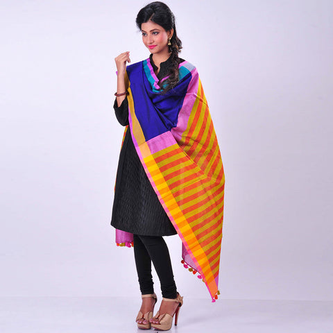 Royal Blue Handwoven Cotton Dupatta by MEENAKARI