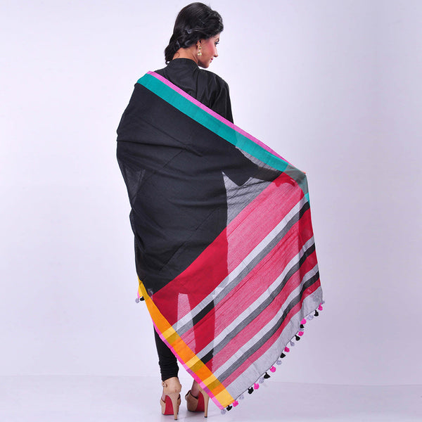 Black Handwoven Cotton Dupatta