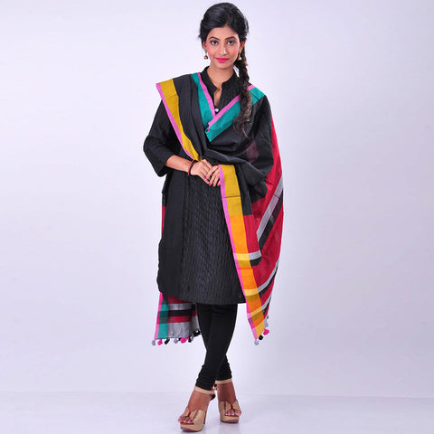 Black Handwoven Cotton Dupatta by MEENAKARI
