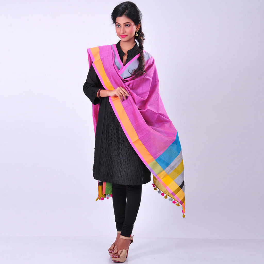 Pink Handwoven Cotton Dupatta by MEENAKARI
