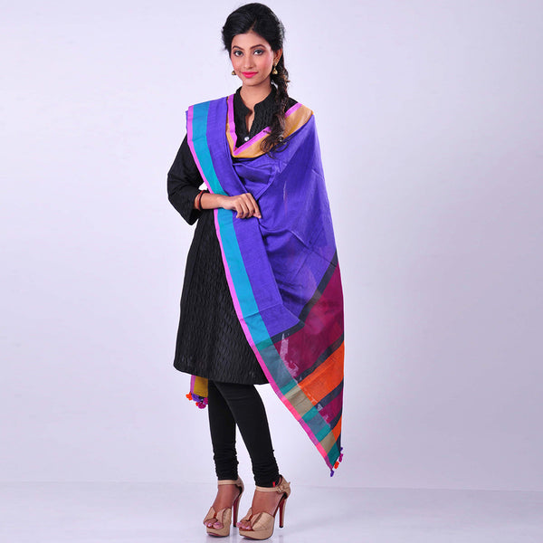 Purple Handwoven Cotton Dupatta by MEENAKARI