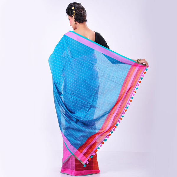Pink Handwoven Cotton Sari