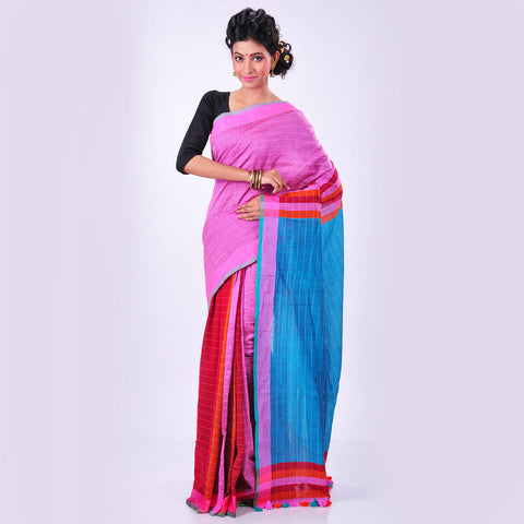 Pink Handwoven Cotton Sari by MEENAKARI