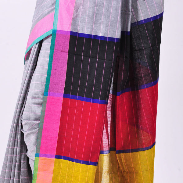 Grey Handwoven Cotton Sari