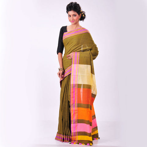 Mustard Handwoven Cotton Sari by MEENAKARI