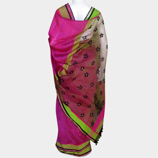 Pink & Green Handwoven Silk Sari