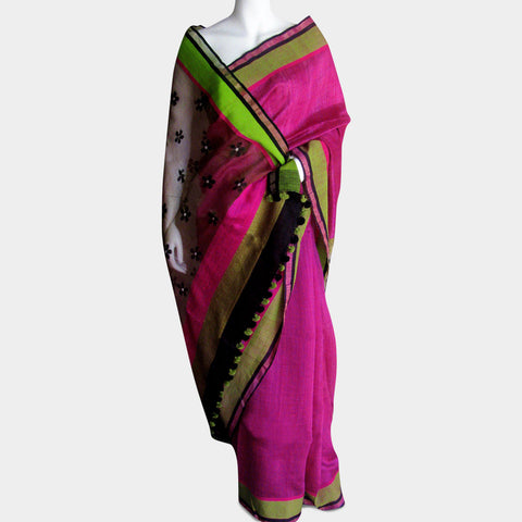 Pink & Green Handwoven Silk Sari by MEENAKARI