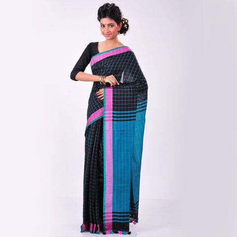 Black Handwoven Cotton Sari by MEENAKARI