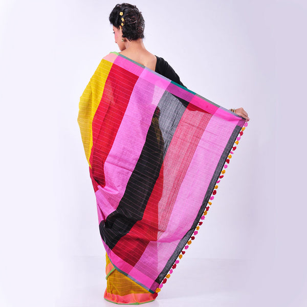 Yellow Handwoven Cotton Sari