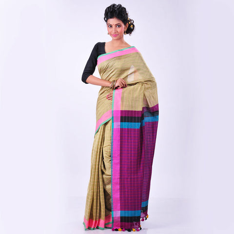 Beige Handwoven Cotton Sari by MEENAKARI