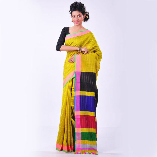 Yellow Handwoven Cotton Sari by MEENAKARI