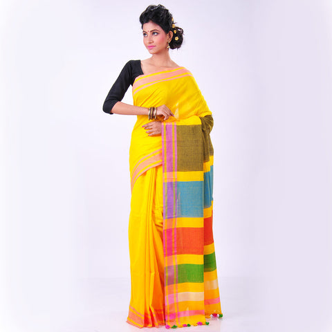 Yellow Cotton Sari by MEENAKARI