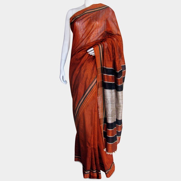 Burnt Orange Handwoven Silk Sari by MEENAKARI