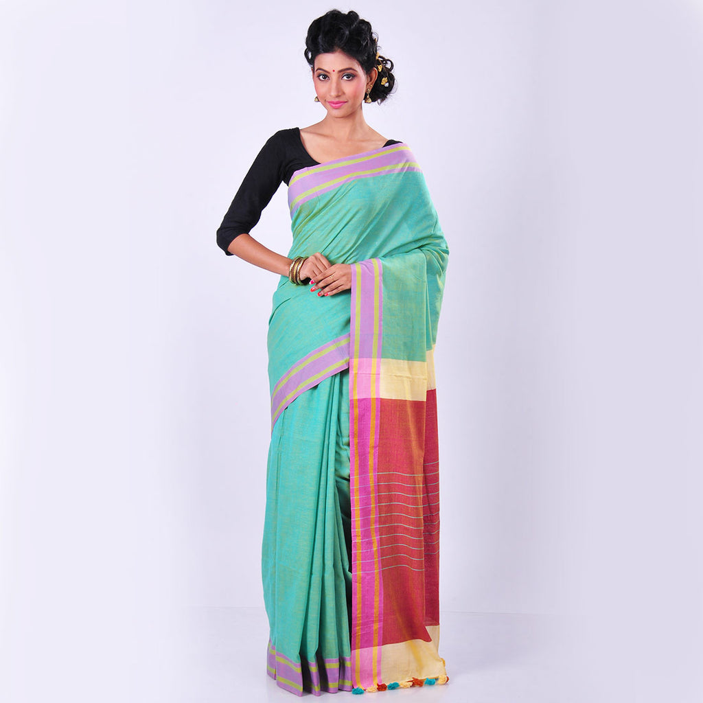 Green Handwoven Cotton Sari by MEENAKARI