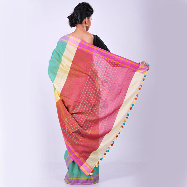 Green Handwoven Cotton Sari