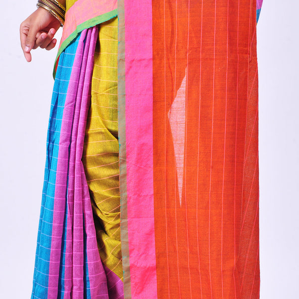 Multicolor Handwoven Cotton Sari