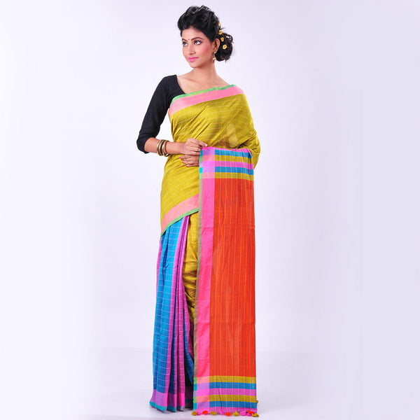 Multicolor Handwoven Cotton Sari by MEENAKARI