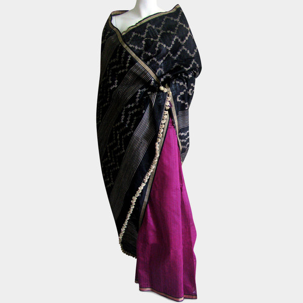 Black & Magenta Handwoven Silk Sari by MEENAKARI