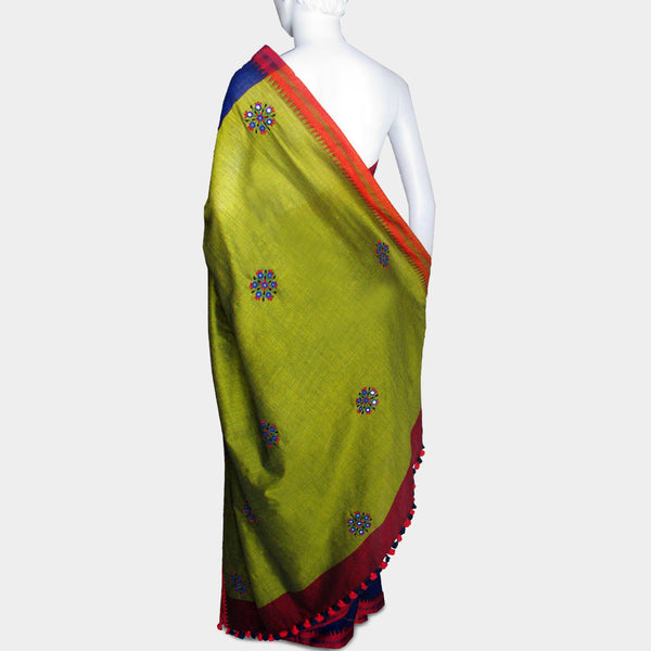Ink Blue Handwoven Cotton Sari