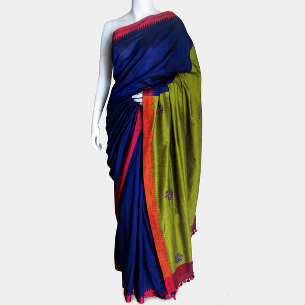 Ink Blue Handwoven Cotton Sari by MEENAKARI