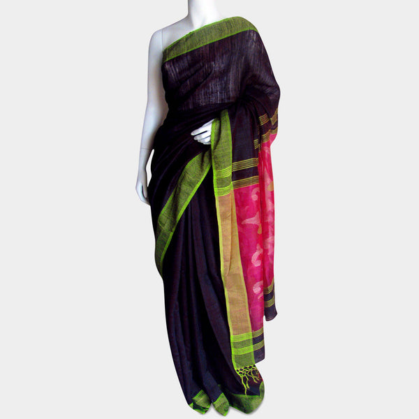 Coke Black Handwoven Silk Sari by MEENAKARI