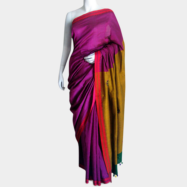 Magenta Handwoven Cotton Sari by MEENAKARI