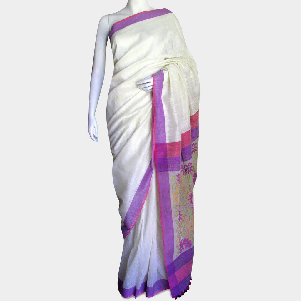 White & Pink Handwoven Silk Sari by MEENAKARI