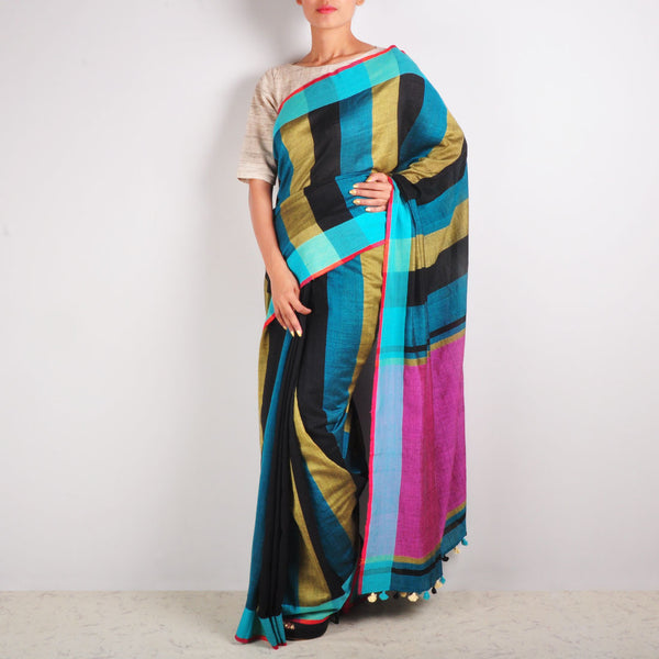 Beige And Black Striped Cotton Sari by MEENAKARI