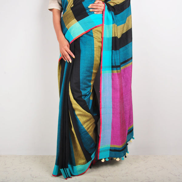 Beige And Black Striped Cotton Sari