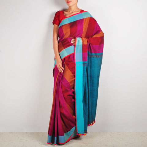 Red & Orange Striped Cotton Sari by MEENAKARI