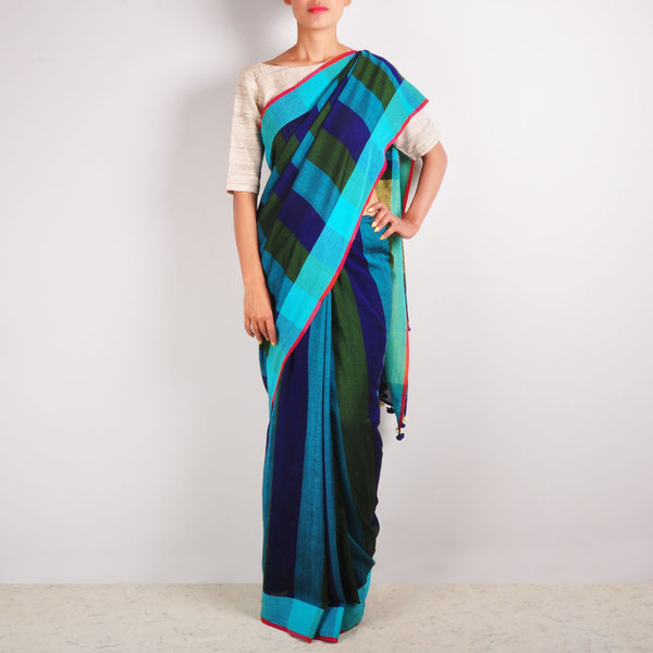 Blue Striped Cotton Sari