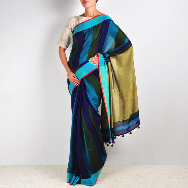 Blue Striped Cotton Sari by MEENAKARI