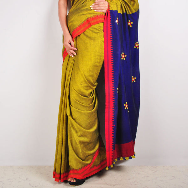 Mustard & Purple Cotton Sari